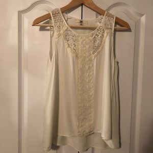 White tank with embroidered and cut out detail